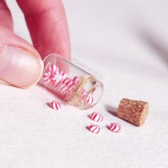 Christmas Miniature PEPPERMINT CANDY Jars, for 1/12 or 1/6 Scale Dollhouses and Dolls