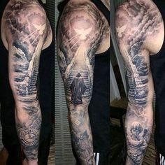 Tattoo by Artist Tamás Kőbán Stigmata ★★★ Artists and studios, want to try Tattoocyn AfterCare - Sky Tattoos, Body Art Tattoos, Cool Tattoos, Full Sleeve Tattoos, Tattoo Sleeve Designs, Cloud Tattoo Sleeve, Stairs To Heaven Tattoo, Religious Tattoo Sleeves, Tattoo Artists Near Me