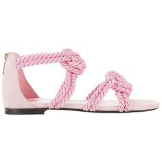 Maison Ernest Women's Sybille Rope Pink Sandals ($495) ❤ liked on Polyvore featuring shoes, sandals, roper shoes, roper footwear, tie shoes, double strap sandals and pink open toe shoes
