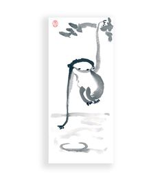 Chinese New Year Monkey Chinese Zodiac Year of the Monkey Original  Sumi ink Zen Painting Art, zen decor, zen illustration by ZenBrush