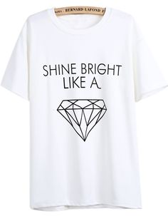 White Short Sleeve Letters Diamond Print T-Shirt - Sheinside.com