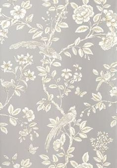 Chinoiserie collection named after a Persian Princess, Soraya ~ Thibaut Wallpaper from the Shang-ri La collection Grey Wallpaper, Fabric Wallpaper, Grey Pattern Wallpaper, Bird Wallpaper Bedroom, French Wallpaper, Perfect Wallpaper, Chinoiserie Wallpaper, Patterned Vinyl, Watercolor Pattern