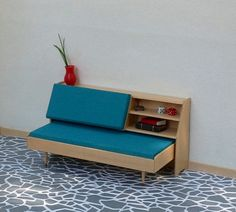 Mid Century Modern Miniature Daybed 112 scale by minisx2 on Etsy, $35.00