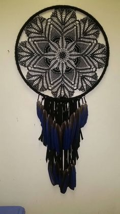 22 Black Crochet Dreamcatcher with Macaw Feather by OutlawCandy