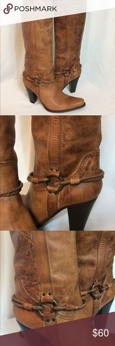 Bronx Leather Knee High Boots This leather boot is is in good condition. It is size 10 (EU 40). It does have some scuffs/wear on the inside of the boot (as shown in pics). Bronx Shoes Heeled Boots
