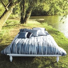 Kalamos has blue reed design on pearl background. Tropical Bed Linen from Elegant Linens Bed Linen, Linen Bedding, Pearl Background, Beds Online, Outdoor Furniture, Outdoor Decor, Luxury Bedding, Linens, Duvet Covers