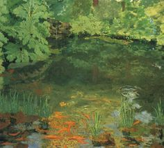 Sir Winston Churchill Paints a pond...the fish are Golden Orfes