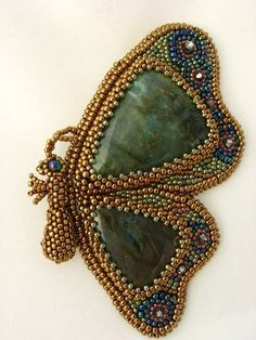 Bead embroidered butterfly with jade triangle stones