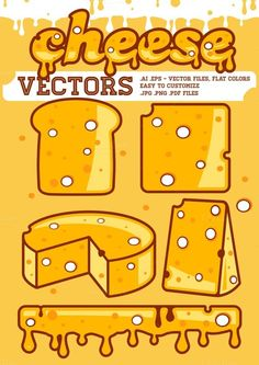 Cheese vectors Graphics **CHEESE VECTORS* Easy to edit cheese vectors, flat colors.---- 100 Scalable Vector Files- Ed by gabicotza Business Illustration, Pencil Illustration, Pizza Logo, Pizza Menu, Design Typography, Logo Design, Cheese Cartoon, Texture Web, Object Drawing