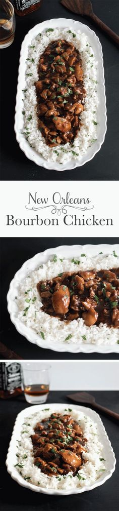 Straight off of Bourbon Street in New Orleans this tender bourbon chicken is covered in a slightly sweet sauce with a little kick. It's a true taste of the South you won't be able to resist. There's even instructions for making it in the slow cooker! Crock Pot Recipes, Cooker Recipes, Great Recipes, Chicken Recipes, Healthy Recipes, Crock Pots, Cajun Recipes, Donut Recipes, Vegetarian Recipes