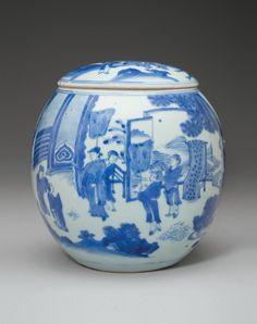 A rare blue and white jar and cover, Chongzhen period, circa 1640.