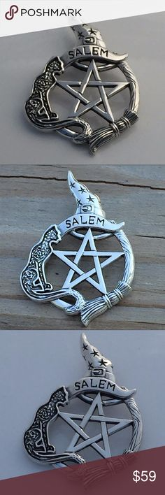 Salem Witch Pentacle Pendant .925 Silver Cat Broom Salem Witch Pentacle Protection Pendant - Sterling Silver (.925) Magick Broom Pentacle. Size: 1 3/4 inch (4.1 cm)/ Handcrafted in solid .925 Sterling Silver. Features a Black Cat, Besom Broom, and center Pentacle. Peter Stone Jewelry Necklaces