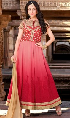 An instant mood brightener with this red and rose pink shade georgette long Anarkali dress. This charming attire is displaying some wonderful embroidery done with lace, resham and stones work. #IndianStyleAnarkaliSuitCollection