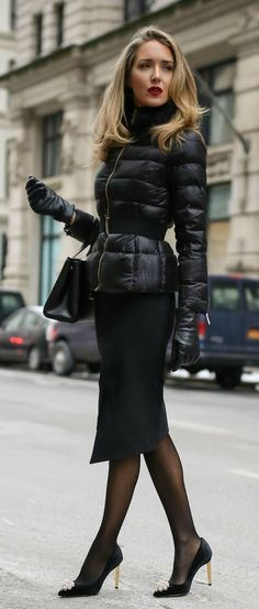 Outerwear Game-Changer: The Professional Puffer Coat // Black quilted puffer jacket with waist belt, black asymmetrical pencil skirt, black embellished pumps, black sheer tights, black leather gloves, black bag {Ted Baker, winter workwear, what to wear, fashion blogger}  @tedbaker #TedtoToe @ad