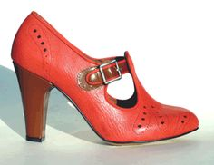 Remix Vintage Shoes, Clouche T-Strap Bootie Heel in Red Leather/Brown Patent