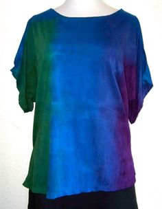 Green, blue and purple hand ombre dyed, scoop neck womens tee.  The bust size is 46, with a length of 30 and 12 sleeves. Custom size shirts and