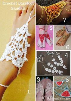 Free Crochet Pattern: My top 7 list of free crochet pattern of barefoot sandals.