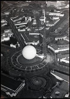 January 30, 1940: aerial view of the Trylon at the 1939 World's Fair in New York, NY.