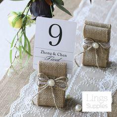 12/24pcs Vintage Table Number Holders Burlap Wedding Place Name Card Holders