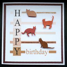 S100 Hand made Birthday card using Cat dies