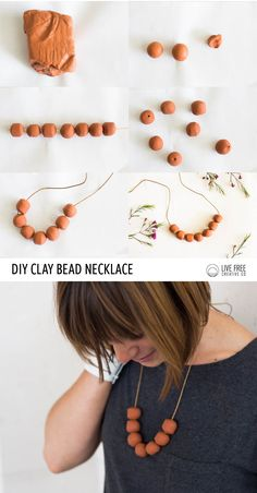 With just three supplies and about twenty minutes, you can make your own simple terra cotta clay bead necklace with this tutorial! Its already a favorite.