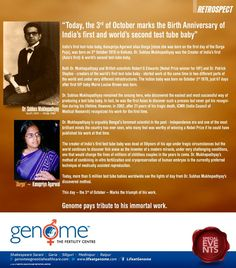 India's first test-tube baby, Kanupriya Agarwal alias 'Durga' was born on 3rd October, 1978 in Kolkata. Dr. Subhas Mukhopadhyay was the creator of India's first (Asia's first) and world's second test-tube baby. This day - the 3rd of October - marks the triumph of his work. GENOME pays tribute to his immortal work. http://www.lifeatgenome.com/