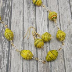 Paper Bead Necklace and Earring Set - Rwandan Paper Beads - Bright Yellow and Gold