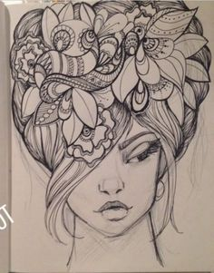 Zentangle face: Zentangle Woman, #tattooswomensfaces