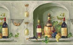 Wine Bottles Glass Grape Wallpaper Border Mural TM75063 | eBay