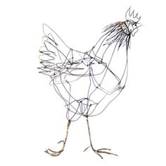 Hen, sculpture in steel wire by Thomas Hill. Gallery Lulo. Check it out now on our shop page!