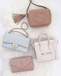 favorite designer bags // classic chanel flap, gucci soho disco, YSL wallet on chain, celine nano