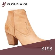 "SALE ✨🐴 BNIB Frye Renee Short Camel Booties From oiled suede that's been distressed, this boot gets even better with wear. The pointed toe and tapered high heel give it a refined shape, while the western stitching and well-worn look give it a ruffian edge. Finished off with its signature back seam, this boot never backs down from a challenge. Perfect for a festival or everyday wear!  - Leather lined - Leather with rubber outsole  - 3 1/2"" shaft height - 11"" shaft circumference - 2 3/4"" heel…"