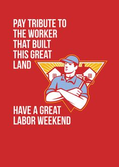 Labor Day Greeting Card Builder Hammer Houses Shield Art Print. Labor Day greeting card featuring an illustration of a carpenter builder holding hammer with residential houses in the background set inside shield crest with the words Pay Tribute To the Worker That Built This Great Land, Have A Great Labor Weekend. #Greetingcard #LaborDay