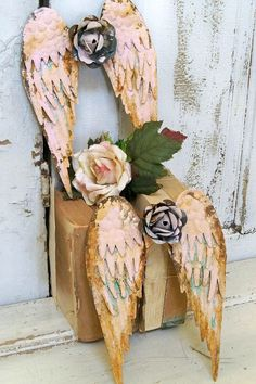 Metal angel wings set wall sculpture shabby by AnitaSperoDesign, $140.00
