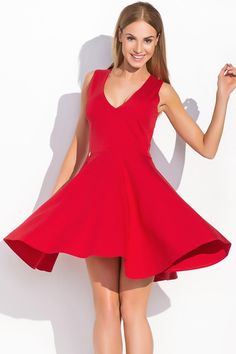 Makadamia M295 - czerwona sukienka kręcąca