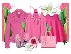 """Pink Rules"" by artistkarstenmouras ❤ liked on Polyvore featuring Boutique Moschino, Banana Republic, Yves Saint Laurent, Amanda Rose Collection, Keds and Gucci"