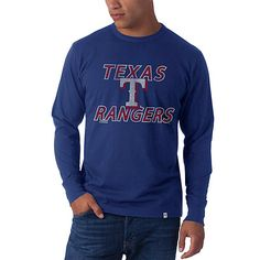 Texas Rangers Long Sleeve Flanker T-Shirt by '47 Brand - MLB.com Shop