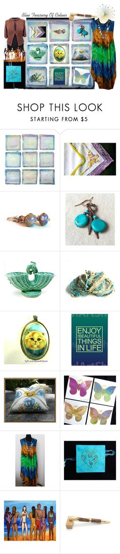 """""""Blue Treasury Of Colour"""" by sylvia-cameojewels ❤ liked on Polyvore featuring beauty, Pocket Book and NOVICA"""