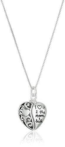 Sterling Silver Heart I Love U 2 The Moon and Back Pendant Necklace -- Click image to review more details-affiliate link. #Jewelryon SALE