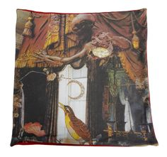 Cotton plush cushion that shows part of the famous story The Nightingale by Hans Christian Andersen Hans Christian, Nightingale Bird, Cushion Pillow, Pillows, Cushions For Sale, Buy Art, Digital Prints, Fairy Tales, Tapestry
