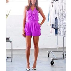 Express Ruffled Front Zip Romper
