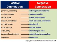 Denotation connotation and negative positive and Connotation &