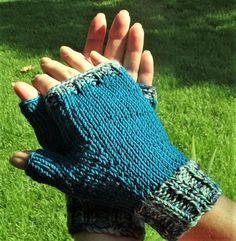 Jewel tone variegation One Size Fits Most Fingerless Gloves Size Knitted
