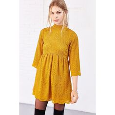 Motel Luella Lace Babydoll Dress (115 CAD) ❤ liked on Polyvore featuring dresses, mustard, bell sleeve dress, yellow dress, day to night dresses, baby doll dress and lace mini dress