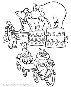 Circus Animal Coloring Pages | Printable performing Trained circus ...