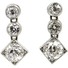 Preowned Antique Diamond Platinum Drop Earrings ($5,600) ❤ liked on Polyvore featuring jewelry, earrings, multiple, antique earrings, diamond earrings, platinum earrings, deco drop earrings and antique art deco earrings