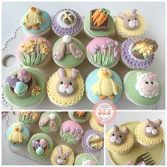 Easter Cupcake Class, join the class and learn to create these super cute cupcakes. Fondant Cupcakes, Berry Cupcakes, Spring Cupcakes, Spring Cake, Fondant Toppers, Fun Cupcakes, Easter Cake Toppers, Easter Cupcake Decorations, Easter Cup Cakes Ideas