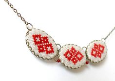 Hand embroidered necklace with three red Ukrainian by skrynka, $25.00