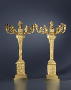 A pair of Empire six-light candelabra, representing Apollo and Diana, Paris, date circa 1810-20