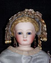 "13.5"" French Fashion ~ Original Wig ~ Unique Costume! Antique Dolls from Faraway Antique Shop on Ruby Lane."